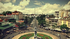 Da Lat - May 2015: City view with roundabout traffic. Retro look. 4K speed up. Stock Footage