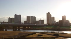 Day-to-night time-lapse view of the Tokyo cityscape and Tama river, Kawasaki, Stock Footage