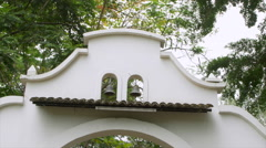 Two bells at the top of church entrance, Galapagos Island, Ecuador Stock Footage