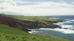 View of waves splashing on coastline, Easter Island, Chile Stock Footage