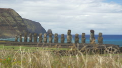 View of Ahu Tongariki near the coast of Easter Island, Chile Stock Footage