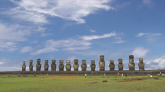 View of tourists near Ahu Tongariki, Easter Island, Chile Stock Footage
