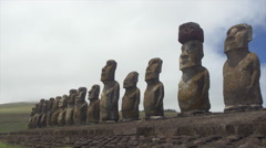 View of Ahu Tongariki, Easter Island, Chile Stock Footage