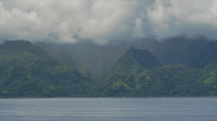 View of green mountains of Tahiti Island, Papeete, Tahiti, French Polynesia Stock Footage