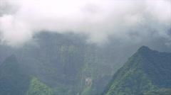 View of green mountains of Tahiti Island, Papeete, Tahiti, French Polynesia - stock footage