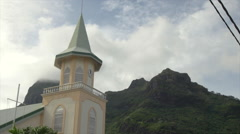 View of Faanui Protestant Church in Bora Bora island, French Polynesia Stock Footage