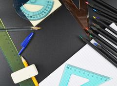 Multiple writing accessories and stationery items Stock Photos