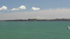 Ferry sailing in sea near Bay of Islands, North Island, New Zealand Stock Footage