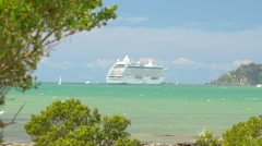Cruise liner moored in sea near Bay of Islands, North Island, New Zealand Stock Footage
