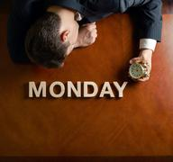 Word Monday and devastated man composition Stock Photos