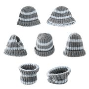 Gray knitted head cap isolated - stock photo
