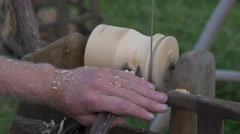 Carpenter carving wood with chisel, Matamata, New Zealand - stock footage