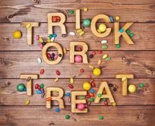 Trick or treat composition - stock photo
