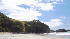 View of beach in Mount Maunganui, New Zealand Stock Footage
