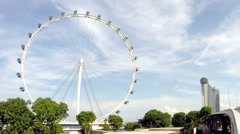 Hyperlapse of Singapore Flyer With Marina Bay Sands in Background Stock Footage