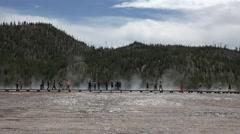 Midway Geyser Basin Boardwalk Yellowstone tourism 4K Stock Footage