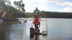 Statue of goddess Gayatri in Grand Bassin, Port Louis, Mauritius Stock Footage