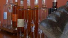 Bottles of rum in Rhumerie De Chamarel distillery, Chamarel, Mauritius Stock Footage