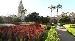 View of Balboa Park garden, San Diego, California, USA Stock Footage