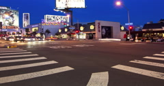 Traffic moving on Sunset Boulevard street at night, Hollywood, Los Angeles, Stock Footage