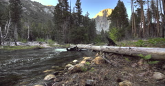 View of El Capitan mountains and Merced Rive in Yosemite National Park, Stock Footage