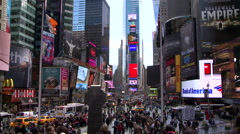 People on the busy street of Times Square, New York, USA Stock Footage
