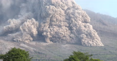 Huge Pyroclastic Flow Destroys Farmland During Volcanic Eruption Stock Footage