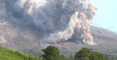 Sinabung Volcano Unleashes A Large Pyroclastic Flow During Eruption Stock Footage