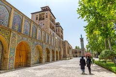 Golestan Palace visitors by the Edifice of the Sun - stock photo