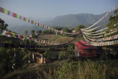 Village in the mountains, Nepal, Flags, Time Lapse Stock Footage