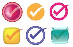 Check or Tick Symbol Vector Icon Set - stock illustration