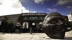 Facade of Jeld-Wen Field in Portland, Oregon, USA Stock Footage