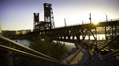 View of Steel Bridge across the Willamette River in Portland, Oregon, USA Stock Footage