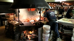 Texas BBQ, sausage steakhouse grill Stock Footage