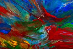 Stock Photo of wet acrylic paint on canvas closeup