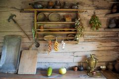 Kitchen in the house of a poor peasant in the old Russian style Stock Photos