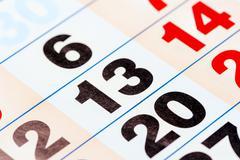 13 the number of calendar close-up shot Stock Photos