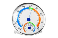 Hygrometer shows a comfortable temperature and humidity Stock Photos