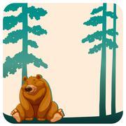 Bear and trees - stock illustration