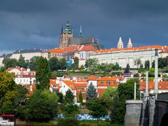 Prague Castle and St. Vitus cathedral - stock photo