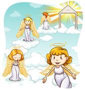 Angels - stock illustration