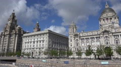 ULTRA HD 4K Famous Pier Head Cunard building Royal Liver Liverpool landmark icon Stock Footage