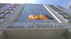 Borsa de Barcelona building in Barcelona Stock Footage