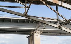 Closeup of Metal Bridge Walkway - stock photo