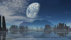 City of aliens over the mountain - stock footage