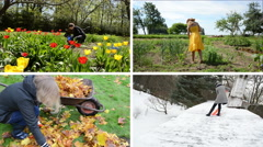 Woman work seasonal works in garden. Footage clips collage. Stock Footage