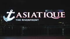 Asiatique riverfront sign at night Stock Footage