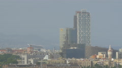 Barcelona cityscape with Hotel Arts Stock Footage
