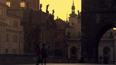 Early morning at Prague Charles bridge Stock Footage