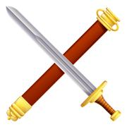 Crossed sword and scabbard - stock illustration